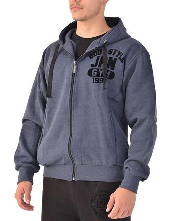 1e9533abdaf0 Ανδρική ζακέτα φούτερ με κουκούλα σε μπλε τζιν χρώμα
