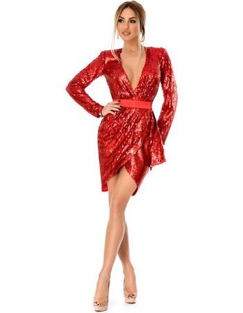 9290 RO Βραδινό μίνι φόρεμα με παγιέτες και βαθύ ντεκολτέ - Κόκκινο 2e91738eee9
