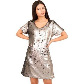 eb46612a88be Ασημί Mini Φόρεμα με Παγέτες Aσημί Silia D
