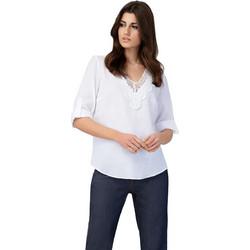 e3595b128d0d Billy Sabbado γυναικεία λινή μπλούζα με V λαιμόκοψη και δαντέλα -  0299224232 - Λευκό