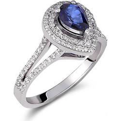 Δαχτυλίδι ροζέτα από λευκό χρυσό 18 καρατίων με ζαφείρι στο κέντρο e81684e464c