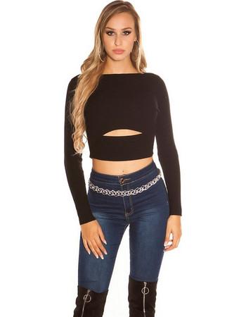 d151827f6718 41935 FS Κοντό rib πουλόβερ με άνοιγμα - Μαύρο