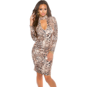0b9ae6c3e7c2 41538 FS Μίντι φόρεμα με βαθύ ντεκολτέ-Λεοπάρ