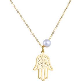 Κολιέ από χρυσό 14 καρατίων με το χέρι της Φατιμά και πέρλα στο πλάι. Το 24fdab1ba9e
