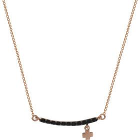 Κολιέ μπάρα με σταυρό από ροζ χρυσό ασήμι 925 και μαύρα swarovski(R) 59ed694da26