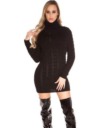 625b38132816 41958 FS Ζιβάγκο πουλόβερ Μίνι φόρεμα με κοτσίδες - Μαύρο