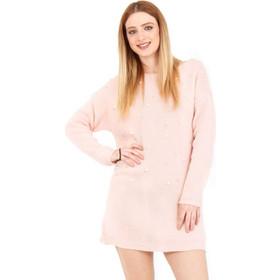 6d43b7608154 Ρόζ Πλεκτό Μπλουζοφόρεμα με Πέρλες Ρόζ Silia D
