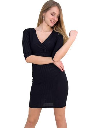 Γυναικείο φόρεμα ριπ μαύρο κρουαζέ Brown Sugar 014000045Q 31872717a35