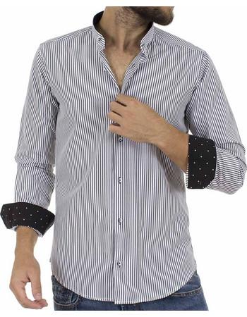 Ανδρικό Ριγέ Μάο Μακρυμάνικο Πουκάμισο Slim Fit ENDESON CLUB 6030-100 Μαύρο 7cd4be9d7bc