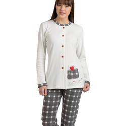 Jeannette ιβουάρ γυναικεία κουμπωτή χειμωνιάτικη πυτζάμα με γκρι καρό  παντελόνι 10131 2983ea0bdda