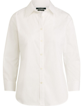 e07fe35b52da Lauren Ralph Lauren γυναικείο πουκάμισο Cotton Button-Down Shirt White -  200682759001 - Λευκό