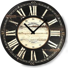 105183fd56 Vintage ξύλινο στρογγυλό ρολόι τοίχου Roman Numbers Noir