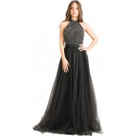 84344f3a3939 F8999 Φόρεμα με Τούλι - ΜΑΥΡΟ 18125