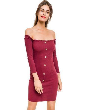 Φόρεμα Ελαστικό Σε Μπορντό dbbeba67097