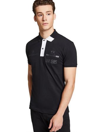 La Martina ανδρική μπλούζα πόλο Winston - MMPM30-PK001 - Μαύρο a9e9c13d644