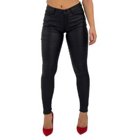 a879b7239cea Γυναικείο μαύρο ελαστικό παντελόνι όψη δερματίνης CY125