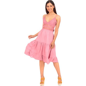 b051a1636fcb Ρόζ Αμάνικο Midi Φόρεμα με Δαντέλα και Βολάν Ρόζ Silia D