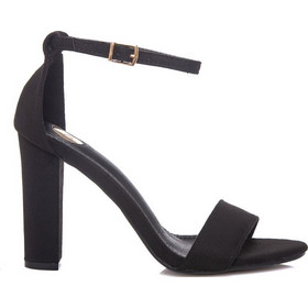00eb8c34dab Πέδιλα μαύρα σουέτ με λουράκι και χοντρό τακούνι 3421122bl. Tsoukalas Shoes
