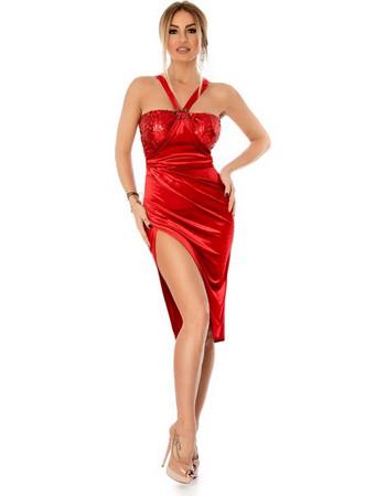 ca93ca882b76 9294 RO Βραδινό μίντι βελούδινο φόρεμα με παγιέτες - Κόκκινο