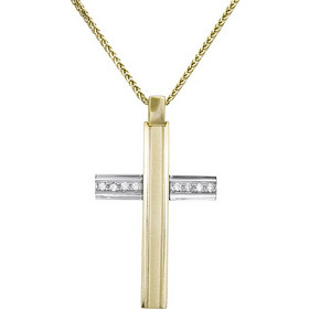 Βαπτιστικοί Σταυροί με Αλυσίδα Βαπτιστικός δίχρωμος σταυρός με ζιργκόν Κ14  σετ με αλυσίδα 031895C 031895C Γυναικείο b822b4b2abf