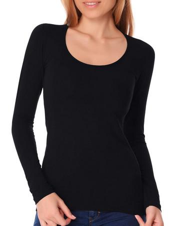 Jadea γυναικεία βαμβακερή μακρυμάνικη μπλούζα με ανοιχτό λαιμό 4056 Μαύρο ea8626daf4e