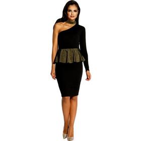 90006ecd9d57 60039 DR Μίντι φόρεμα με μεταλιζέ στοιχεία - Μαύρο Χρυσό