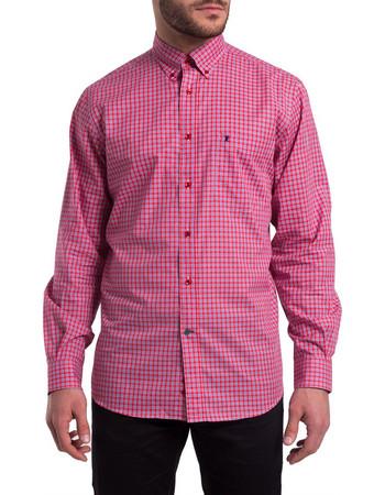fa9c9e7e9d6d Ανδρικό καρό πουκάμισο The Bostonians - AACH7239 - Ροζ