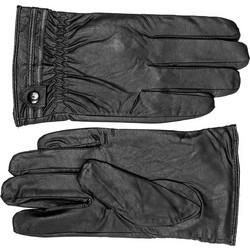 Γάντια μαύρα από δερματίνη με κουμπάκι dddf809b526