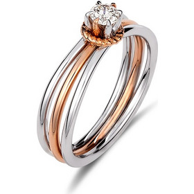 Μονόπετρο δαχτυλίδι από λευκό και ροζ χρυσό 18 καρατίων με διαμάντι 0.20ct.  JR20303 10dfadb868d
