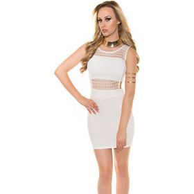 2933656c51b2 41405 FS Μίνι φόρεμα με δαντέλα και ανοίγματα στο πλάϊ