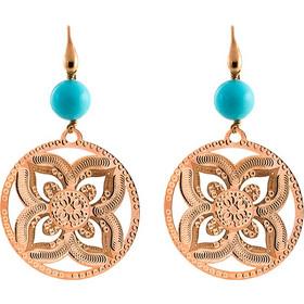 Σκουλαρίκια Μεταλλικά Loisir Σε Χρώμα Ροζ Χρυσό Στρόγγυλο Στοιχείο Και  Τυρκουαζ Πέτρες 4d9e74bf6cd