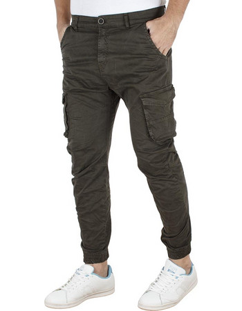960f65c3b912 Ανδρικό Παντελόνι Chinos Cargo με Λάστιχα Back2jeans army W18 Χακί