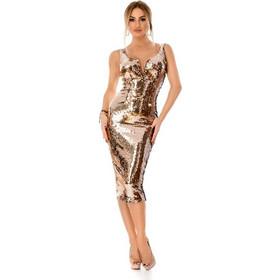 6fe870fecfae 9296 RO Εντυπωσιακό μίντι φόρεμα με παγιέτες - Χρυσό. Ro Fashion
