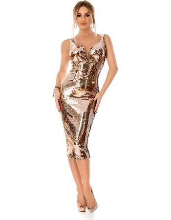 9296 RO Εντυπωσιακό μίντι φόρεμα με παγιέτες - Χρυσό 0bde3f98600