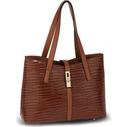 e543cafff1 Γυναικεία λουστρίνι τσάντα κροκό AG00710 - Καφέ .