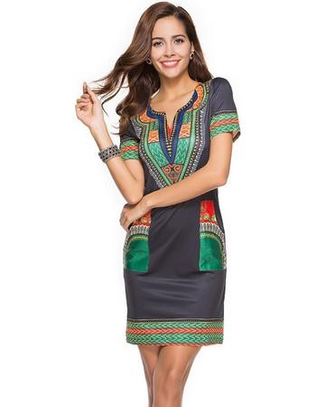 81f0a7f1576a New Women Summer Dress Sexy Tight Ethnic Style Short Sleeve V-neck Vintage  Print Mini