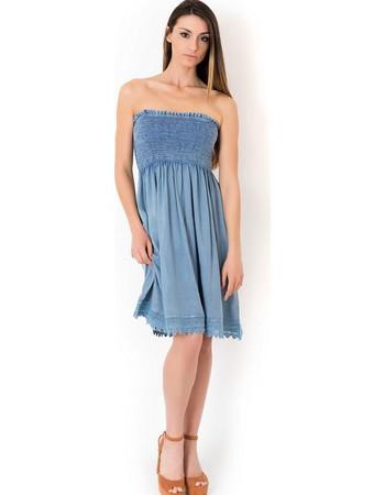 Φόρεμα παραλίας strapless Iconique IC8-036 - jeans ανοιχτό 7ec6be48c6b