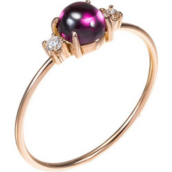 Δαχτυλίδι από ροζ χρυσό 18 καρατίων με ροδολίτη cabochon στο κέντρο και  διαμάντια στο πλάι. 0b9eee0b02d