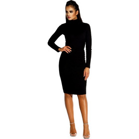 098e7f35ee2a 60041 DR Ελαστικό βισκόζ μίντι φόρεμα με ανοιχτή πλάτη - Μαύρο