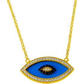 Χρυσό κολιέ μάτι Κ14 με σμάλτο KL639A 86e5a94fcac