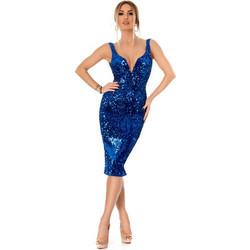 09c1eb86614 9297 RO Εντυπωσιακό μίντι φόρεμα με παγιέτες και βελούδο - Μπλε