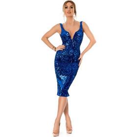 7636632e1da 9297 RO Εντυπωσιακό μίντι φόρεμα με παγιέτες και βελούδο - Μπλε