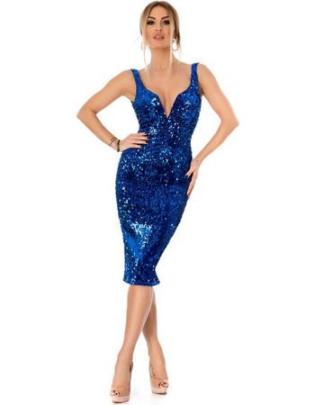 9297 RO Εντυπωσιακό μίντι φόρεμα με παγιέτες και βελούδο - Μπλε. Ro Fashion 02bafc4057a