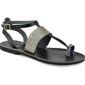 08f0d6979df Δερμάτινο μαύρο με χρυσό σαυρέ σανδάλι Tsakiris Sandals TS608