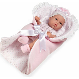 51b3173a6f9 Munecas Arias Natal Elegance με Υπνόσακο Ροζ & Λευκό Πουά 33cm