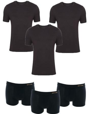 Ανδρικές βαμβακερές φανέλες με κοντό μανίκι και μπόξερ σε μαύρο χρώμα σετ 3  τεμαχίων 5a595b8925e