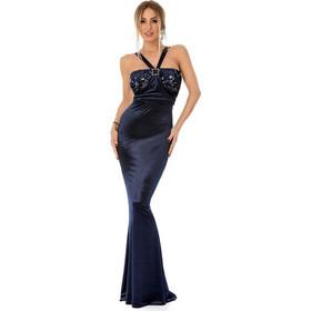 0ec3f30c7796 9298 RO Βραδινό μάξι βελούδινο φόρεμα με παγιέτες - Μπλε