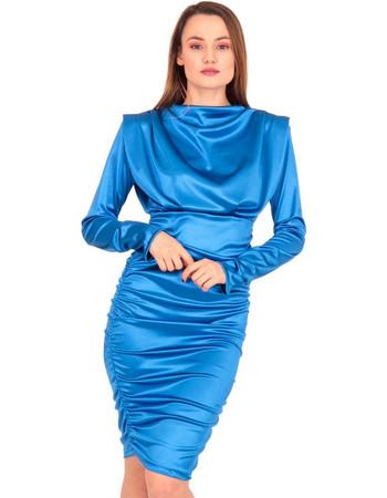 9916fc40ba9f Μπλε Ρουά Σατέν Mini Φόρεμα Μπλέ Silia D