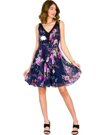 Γυναικείο μπλε φλοράλ αμάνικο φόρεμα κλος τούλι 8316275G cd43ea3553c