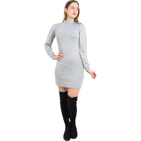 3a70c630be79 Γυναικείο γκρι μάλλινο φόρεμα λουπέτο κορδέλα Benissimo 91936L